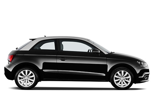 AUT 46 IZ0144 01 © Kimball Stock 2013 Audi A1 3 Door Hatchback Black Profile View On White Seamless