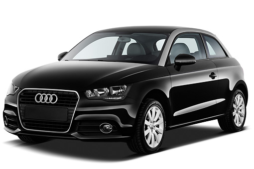 AUT 46 IZ0145 01 © Kimball Stock 2013 Audi A1 3 Door Hatchback Black 3/4 Front View On White Seamless