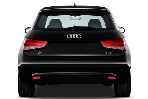 AUT 46 IZ0150 01 © Kimball Stock 2013 Audi A1 3 Door Hatchback Black Rear View On White Seamless