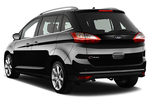 AUT 46 IZ0156 01 © Kimball Stock 2013 Ford Grand C-Max Titanium Mini MPV Black 3/4 Rear View On White Seamless