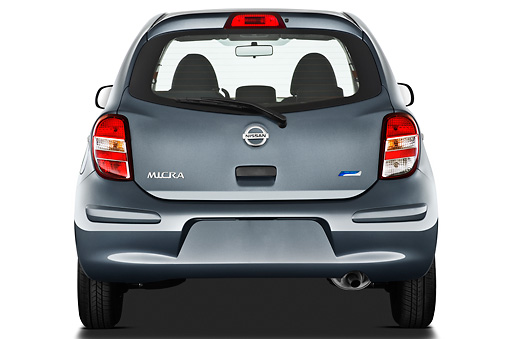 AUT 46 IZ0174 01 © Kimball Stock 2013 Nissan Micra Visia 5 Door Micro Car Gray Rear View On White Seamless