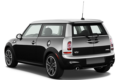 AUT 46 IZ0180 01 © Kimball Stock 2013 Mini Cooper Clubman S Black 3/4 Rear View On White Seamless