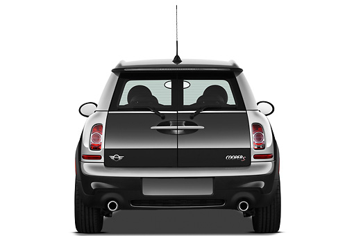 AUT 46 IZ0182 01 © Kimball Stock 2013 Mini Cooper Clubman S Black Rear View On White Seamless