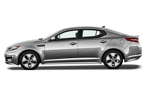 AUT 46 IZ0183 01 © Kimball Stock 2012 Kia Optima Hybrid Silver Profile View On White Seamless