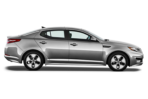 AUT 46 IZ0184 01 © Kimball Stock 2012 Kia Optima Hybrid Silver Profile View On White Seamless