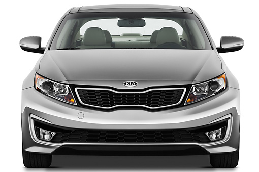 AUT 46 IZ0189 01 © Kimball Stock 2012 Kia Optima Hybrid Silver Front View On White Seamless
