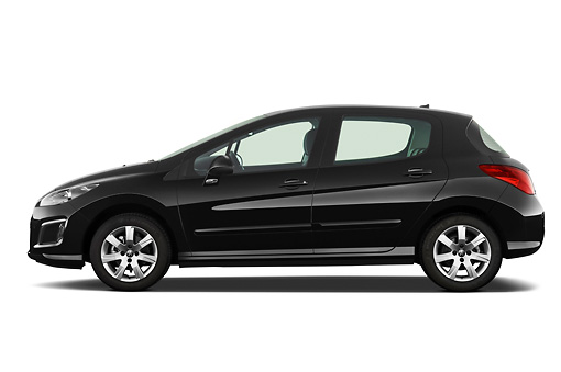AUT 46 IZ0224 01 © Kimball Stock 2013 Peugeot 308 5 Door Hatchback Black Profile View On White Seamless