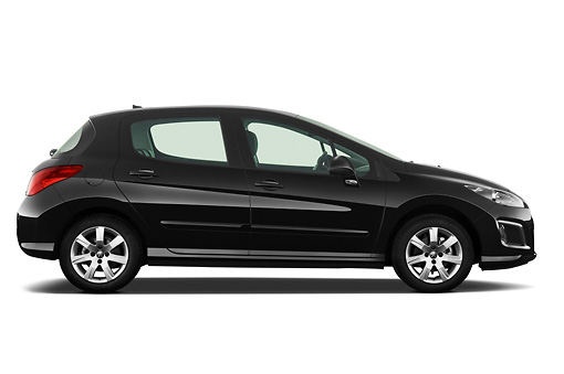 AUT 46 IZ0225 01 © Kimball Stock 2013 Peugeot 308 5 Door Hatchback Black Profile View On White Seamless