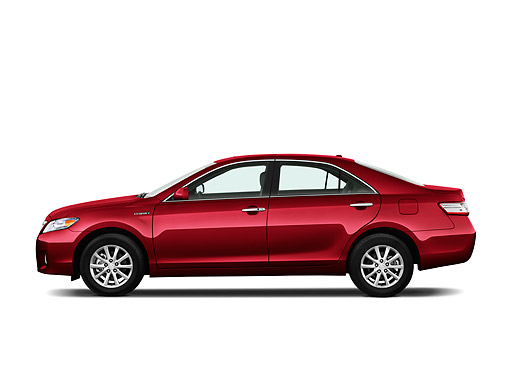 AUT 46 IZ0240 01 © Kimball Stock 2011 Toyota Camry Hybrid Red Profile View On White Seamless