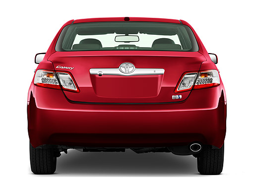 AUT 46 IZ0246 01 © Kimball Stock 2011 Toyota Camry Hybrid Red Rear View On White Seamless