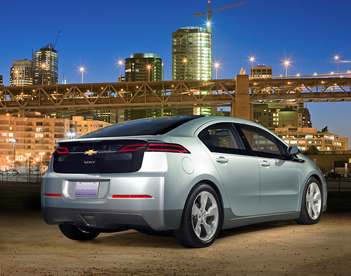 AUT 46 RK0004 01 © Kimball Stock 2013 Chevrolet Volt Light Green 3/4 Rear View By City