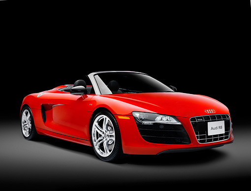 AUT 46 RK0005 01 © Kimball Stock 2011 Audi R8 Spyder Red 3/4 Front View Studio