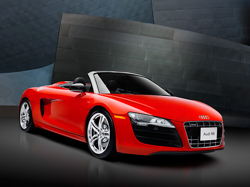 AUT 46 RK0006 01 © Kimball Stock 2011 Audi R8 Spyder Red 3/4 Front View Studio