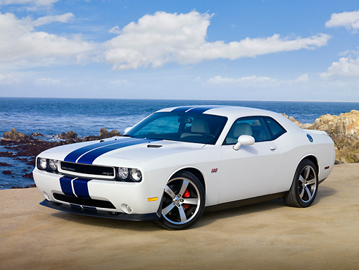 AUT 46 RK0028 01 © Kimball Stock 2011 Dodge Challenger SRT8 White With Blue Stripe 3/4 Front View On Beach