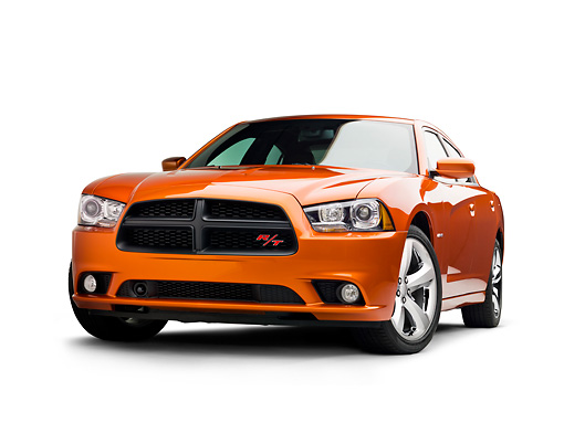 AUT 46 RK0046 01 © Kimball Stock 2011 Dodge Charger RT Orange 3/4 Front View On White Seamless