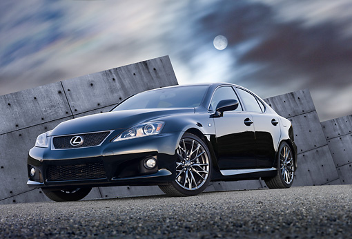 AUT 46 RK0060 01 © Kimball Stock 2011 Lexus ISF Black 3/4 Front View On Pavement By Structure At Night