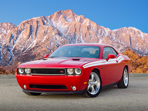 AUT 46 RK0076 01 © Kimball Stock 2011 Dodge Challenger Red 3/4 Front View On Pavement By Snowy Mountains