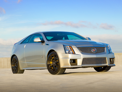 AUT 46 RK0086 01 © Kimball Stock 2011 Cadillac CTS V Silver 3/4 Front View On Concrete