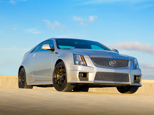 AUT 46 RK0087 01 © Kimball Stock 2011 Cadillac CTS V Silver 3/4 Front View On Concrete