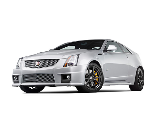 AUT 46 RK0098 01 © Kimball Stock 2011 Cadillac CTS V Silver 3/4 Front View In Studio
