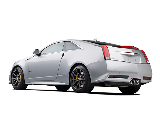 AUT 46 RK0100 01 © Kimball Stock 2011 Cadillac CTS V Silver 3/4 Rear View In Studio