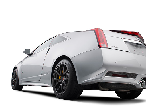 AUT 46 RK0101 01 © Kimball Stock 2011 Cadillac CTS V Silver 3/4 Rear View In Studio