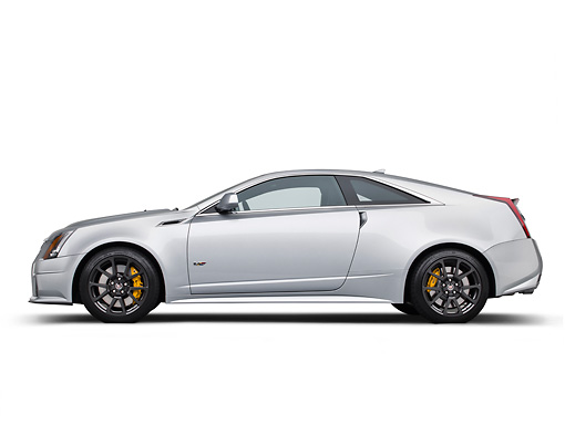 AUT 46 RK0102 01 © Kimball Stock 2011 Cadillac CTS V Silver Profile View In Studio