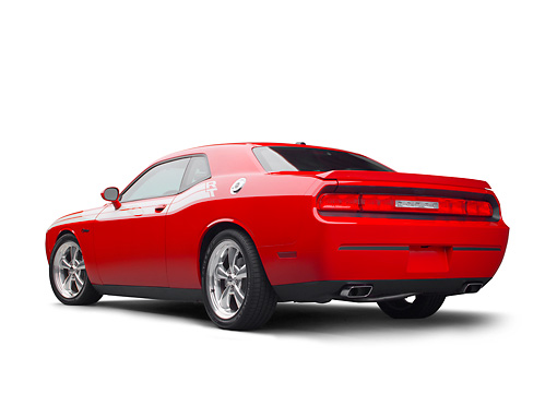 AUT 46 RK0115 01 © Kimball Stock 2011 Dodge Challenger Red 3/4 Rear View On White Seamless