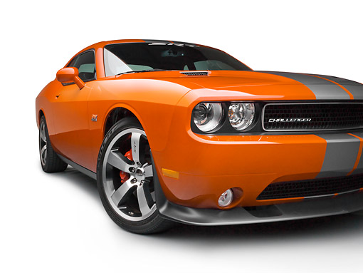 AUT 46 RK0139 01 © Kimball Stock 2011 Dodge SRT8 Challenger Orange With Gray Stripes 3/4 Front View On White Seamless