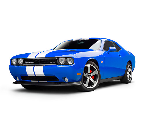 AUT 46 RK0140 01 © Kimball Stock 2011 Dodge SRT8 Challenger Blue With White Stripes 3/4 Front View On White Seamless