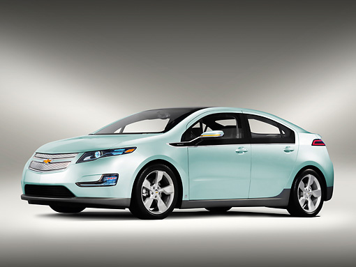 AUT 46 RK0001 01 © Kimball Stock 2013 Chevrolet Volt Sedan Light Adriatic Metallic 3/4 Front View Studio