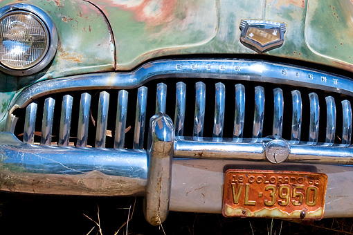 AUT 47 KH0002 01 © Kimball Stock Close-Up Of Old Buick Near