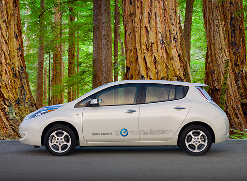 AUT 48 BK0012 01 © Kimball Stock 2012 Nissan Leaf White Profile View On Pavement By Redwood Trees