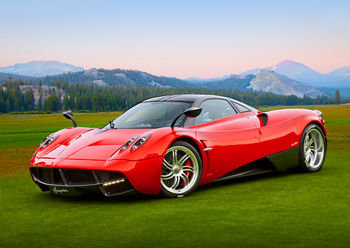AUT 48 BK0013 01 © Kimball Stock 2012 Pagani Huayra Red 3/4 Front View On Grass By Trees And Mountains