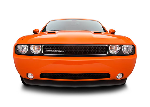 AUT 48 BK0033 01 © Kimball Stock 2012 Dodge Challenger Orange Front View On White Seamless