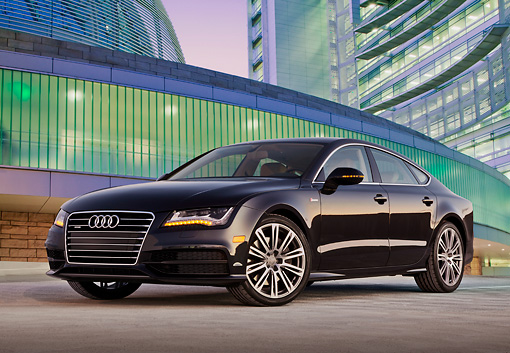 AUT 48 BK0064 01 © Kimball Stock 2013 Audi A7 Black 3/4 Front View On Concrete By Glass Building