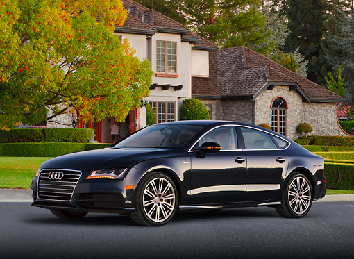 AUT 48 BK0065 01 © Kimball Stock 2013 Audi A7 Black 3/4 Front View On Pavement By House
