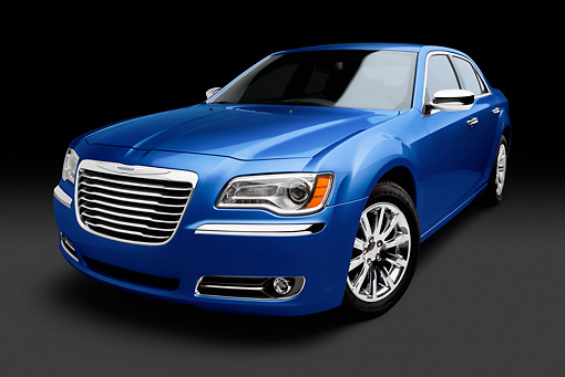 AUT 48 BK0072 01 © Kimball Stock 2012 Chrysler 300C Blue 3/4 Front View In Studio