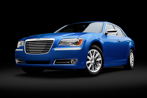 AUT 48 BK0073 01 © Kimball Stock 2012 Chrysler 300C Blue 3/4 Front View In Studio