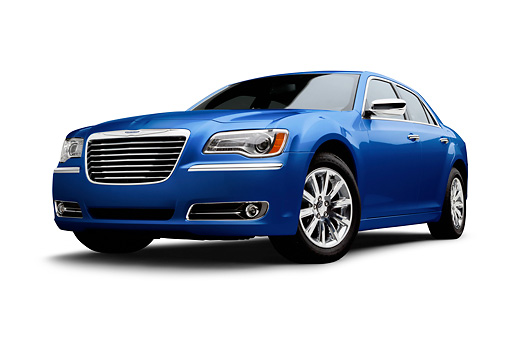 AUT 48 BK0074 01 © Kimball Stock 2012 Chrysler 300C Blue 3/4 Front View On White Seamless