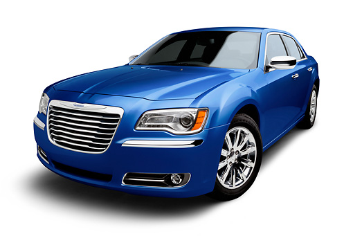 AUT 48 BK0075 01 © Kimball Stock 2012 Chrysler 300C Blue 3/4 Front View On White Seamless