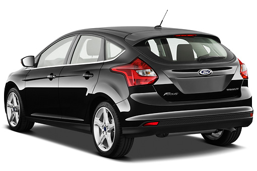 AUT 48 IZ0014 01 © Kimball Stock 2013 Ford Focus Hatchback Titanium Black 3/4 Rear View On White Seamless