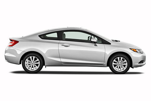 AUT 48 IZ0018 01 © Kimball Stock 2012 Honda Civic Coupe EX Silver Profile View On White Seamless
