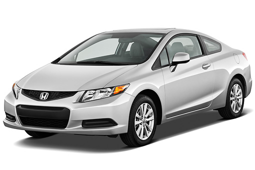 AUT 48 IZ0019 01 © Kimball Stock 2012 Honda Civic Coupe EX Silver 3/4 Front View On White Seamless