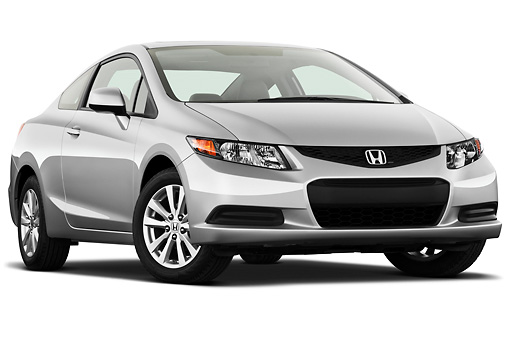 AUT 48 IZ0020 01 © Kimball Stock 2012 Honda Civic Coupe EX Silver 3/4 Front View On White Seamless