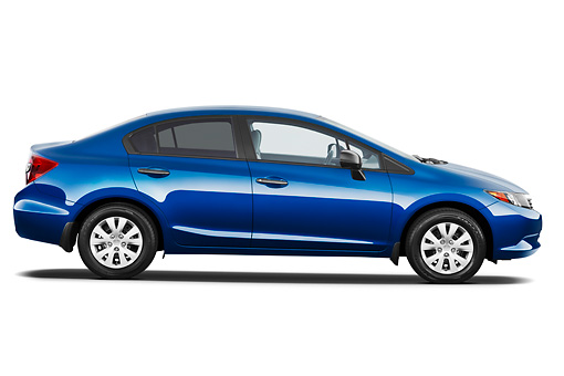 AUT 48 IZ0026 01 © Kimball Stock 2012 Honda Civic Sedan DX Blue Profile View On White Seamless
