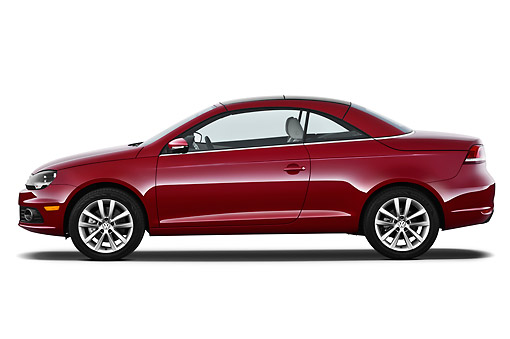 AUT 48 IZ0049 01 © Kimball Stock 2013 Volkswagen EOS Komfort Red Profile View On White Seamless