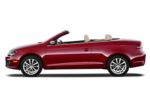 AUT 48 IZ0051 01 © Kimball Stock 2013 Volkswagen EOS Komfort Red Profile View On White Seamless