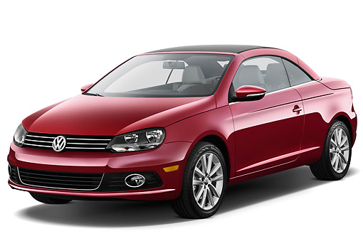 AUT 48 IZ0053 01 © Kimball Stock 2013 Volkswagen EOS Komfort Red 3/4 Front View On White Seamless