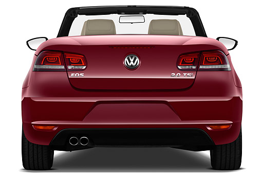 AUT 48 IZ0060 01 © Kimball Stock 2013 Volkswagen EOS Komfort Red Rear View On White Seamless